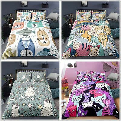 Cartoon Animal Cat Duvet Cover Bedding Quilt Pillowcase Single Double King Size  • 26.99£