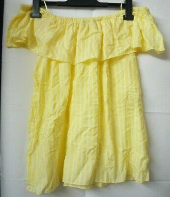 Ladies Yellow Stripe Bardot Summer Top Off The Shoulder Frill Blouse Size 20 New • 6.49£