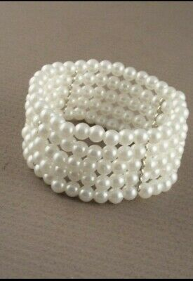 £2.99 • Buy Molly And Rose Stretch Faux Pearl Bead Bracelet - 5 Row - Corsage/Wedding