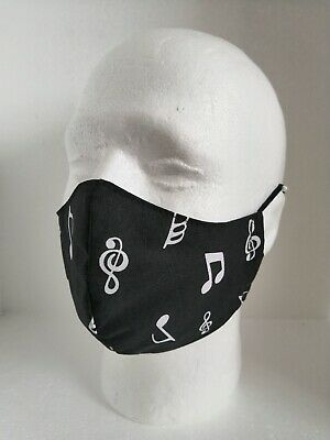 Face Mask Covering With Filter Pocket Washable Handmade UK Music Notes Big Print • 5.50£