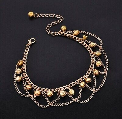 £4.99 • Buy Gold Anklet Women Grill Tassel Bell Ring Metal Foot Chain Jewellery
