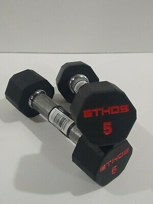 $ CDN67.06 • Buy ETHOS 5 Lb Pair Rubber Hex Dumbbell Weight Set Premium New 10 Lb Total Free Ship