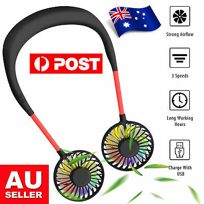 AU16.99 • Buy Wearable Cooling Fan USB Rechargeable Fans Neck Hanging With LED Light
