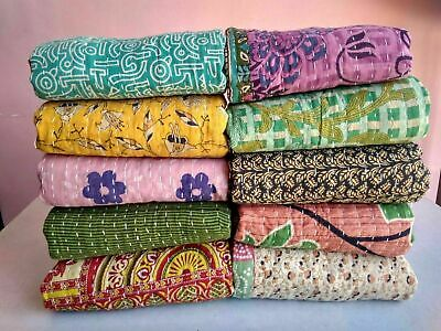Wholesale Lot Indian Vintage Reversible Kantha Quilt PC Throw Blanket Ralli • 14.90£