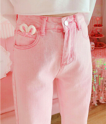 $ CDN47.02 • Buy Japanese Women Girl Pink Denim Long Pants Kawaii High Waist Jeans Trousers New