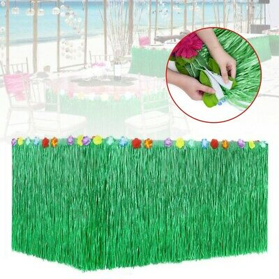 9ft Tropical Hawaiian Luau Table Grass Skirt With Flower BBQ Party Decorations • 11.29£