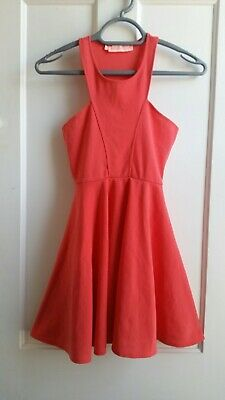 Oh My Love (Topshop Concession) Coral Fit And Flare Skater Dress. Size XS • 12£