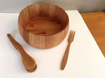 $24 • Buy Vintage Bamboo Salad Set - Large 9  Salad Serving Bowl With Fork And Tongs
