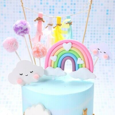AU4.95 • Buy Unicorn Cake Topper Figure Rainbow Clouds Toy Pink Pastel Blue NEW