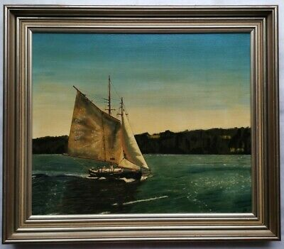 AU249 • Buy Framed Oil Painting - Classic Sailing Yacht (Gosford NSW) - Signed J.R 1977
