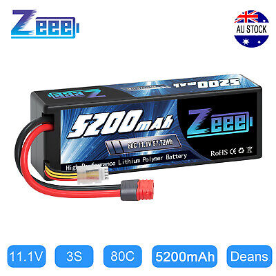 AU48.99 • Buy 5200mAh 80C 3S 11.1V Deans Hardcase LiPo Battery For RC Car Helicopter Airplane