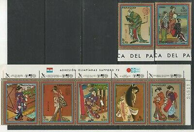 Thematic Stamps Sports - PARAGUAY 1971 WINTER Olympics Jap.costumes 7 Mint • 1.95£