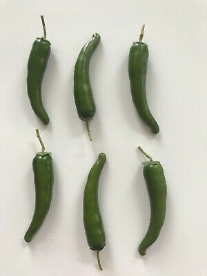 Pack Of 6 Artificial Green Chillies 14 Cm - Chili Pepper Decorations Chilli • 6.99£