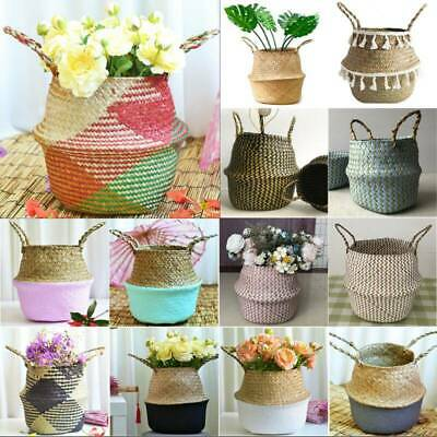 Seagrass Woven Storage Wicker Basket Plants Flower Straw Pots Bag Home Decor • 8.99£