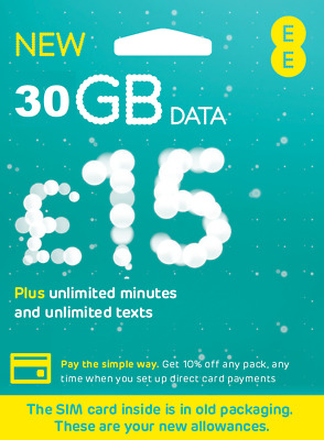 £12.99 • Buy Ee Data Sim 8gb, Preloaded With 8gb Data For Mifi Wifi Router Dongle