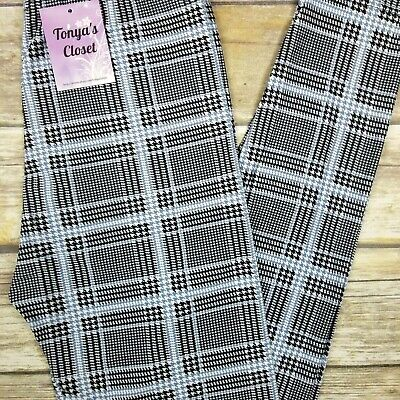$14.95 • Buy Houndstooth Plaid Leggings Buttery Soft ONE SIZE OS