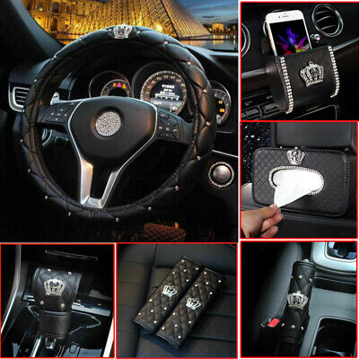 $23.99 • Buy Crown Series Interior Accessories Women Leather Car Steering Wheel Cover Part