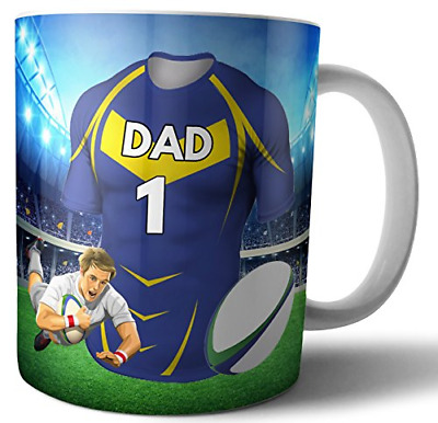 Tea Coffee Mug Rugby Gift For Dad - Leeds Rhinos Colours • 19.89£