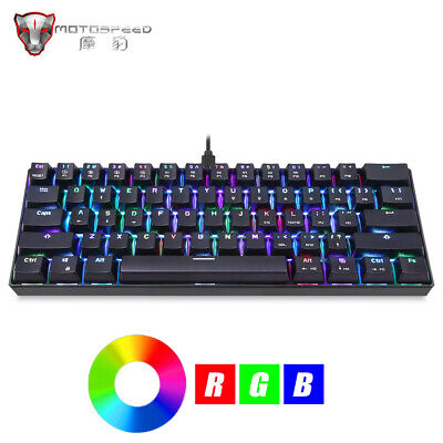 AU61.87 • Buy MOTOSPEED Mechanical Gaming Keyboard RGB Backlit LED Blue Red Switch 61 Keys