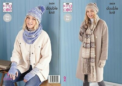 Ladies Hats Scarf Mitts Snood Fjord Dk Knitting Pattern New From King Cole 5654 • 2.95£