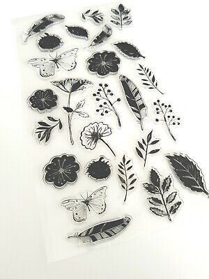 25 Flowers/butterflies Clear Rubber Stamps/stamp Set-feather/leaf-nature-leaves • 5.25£