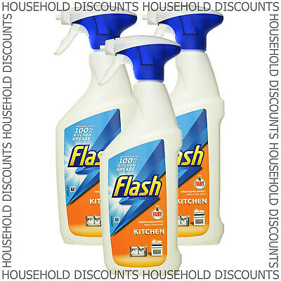 3 X Flash Kitchen Spray Degrease Effect Removes Grease Grime Citrus Scent 450ml  • 8.99£