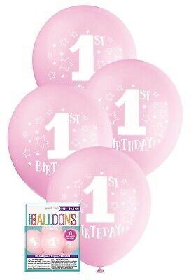 AU5.38 • Buy 8 X First 1st One Birthday Stars Party Pink Balloons Decoration 30cm Helium Girl
