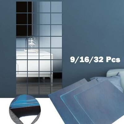 32* Glass Mirror Tiles Wall Sticker Square Self Adhesive Stick On Art Decor Home • 5.95£