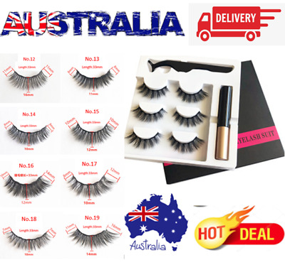 AU12.95 • Buy Magnetic Eyeliner And Magnetic Eyelashes Kit False Lashes 3 Pairs With Tweezer