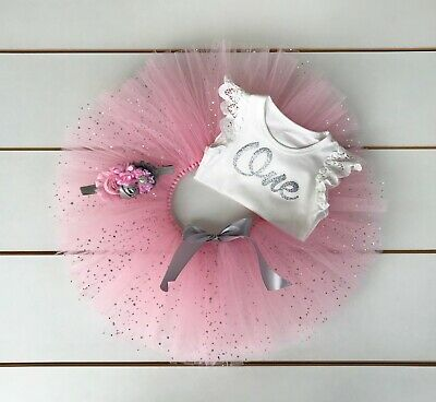 AU45 • Buy Pink & Silver Cake Smash Outfit - 3 Piece First Birthday Tutu Set - Photo Prop