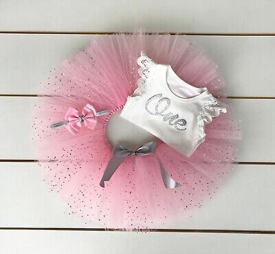AU45 • Buy Pink & Silver Cake Smash Outfit - 3 Piece First Birthday Tutu Set - Baby Girl