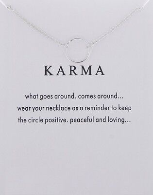Karma Necklace Various Sentiments Good Luck Charm  Gift Wish • 4.49£