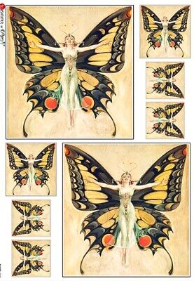 £1.89 • Buy Rice Paper For Decoupage, Nouveau Butterfly Woman,Mulberry,Scrapbook,1 A4 Sheet