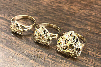 $130.99 • Buy 10K Solid Yellow Gold Heart Nugget Ring