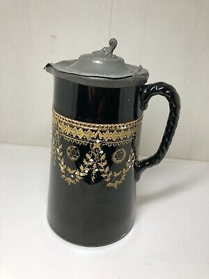 Antique Jackfield Pottery Pewter Lid Jug Victorian  • 20£