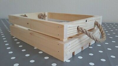 Sturdy Shallow Wooden Crate Storage Box Hamper Basket With Rope Handles • 4.99£
