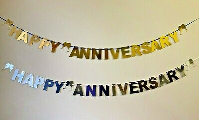 Personalised Wedding Anniversary Bunting Party Decoration Banner Golden Silver  • 4.99£