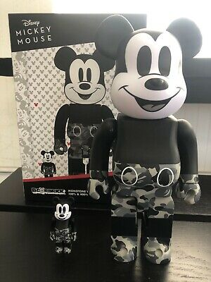 $350 • Buy Bearbrick Medicom 2020 Disney X Bape Mickey Mouse Monotone 100% 400% Be@rbrick