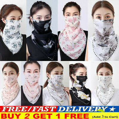 Ladies Face Mouth Cover  Mask Hearts Chiffon Scarf Breathable Protective Bandana • 3.49£
