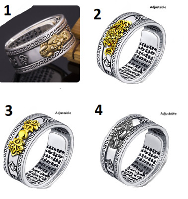 AU8.99 • Buy Feng Shui Gold Obsidian Adjustable Ring Wealth Good Luck Charm Gift Amulet Pixiu