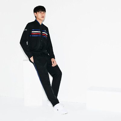 £80 • Buy Men's Lacoste Sport Coloured Bands Tennis Tracksuit - Size 2 / Small - Black