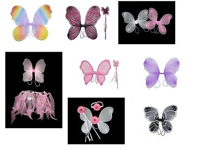£2.95 • Buy Large Small Girls Fairy Wings Pink White Rainbow Costume Adult Kids Dressing Up