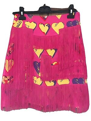 £40 • Buy Versace For H&M Pink And Yellow Heart Fringed Skirt Size 10 Euro 6