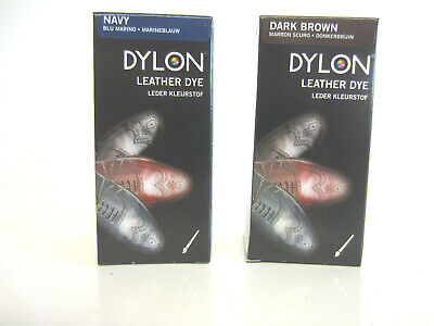 Dylon Leather Shoe Dye With Applicator Brush 50ml Navy (SB) • 4.25£