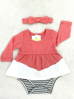 AU24.95 • Buy NEW Size 0-3 Months Baby Clothes Red White Colourblock Dress & Headband Set