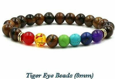 Natural Tiger Eye Elastic Stretch Bracelet Healing Stone Gemstone  Reiki Chakra • 4.99£