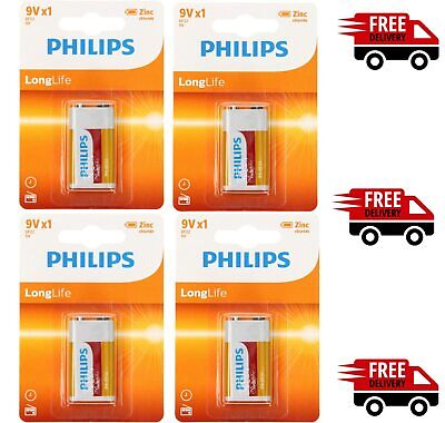 4 X Philips 9V Long Life Batteries - Square Zinc - Smoke Alarm PP3 LR22 HR9V 6LR • 3.85£
