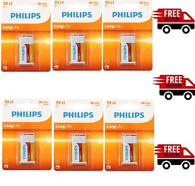 6 X Philips 9V Long Life Batteries - Square Zinc - Smoke Alarm PP3 LR22 HR9V 6LR • 4.99£