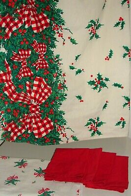 $ CDN50.67 • Buy Vintage Christmas Table Cloth Lot Holly Gingham Bows Large Rectangle + Napkins