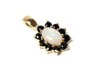 9ct Gold Opal And Sapphire Pendant Necklace No Chain Gift Boxed Made In UK • 48.99£